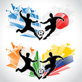Soccer players representing different countries Stock Photos