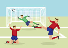Soccer Players Scoring Goal to Victory Vector Cartoon Illustrati Stock Photo