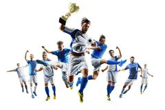 Soccer players selebrates the victory on white background Stock Photo