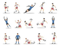 Soccer players set. Soccer players set on white background.  poses of football players in uniform with ball Stock Photo