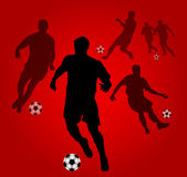 Soccer players silhouettes Royalty Free Stock Photography