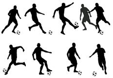 Soccer players silhouettes. Soccer players detailed silhouettes set - vector Royalty Free Stock Image