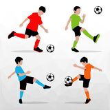 Soccer Players Silhouettes of Kids. Boys in sports form. Football. Vector illustration. Soccer Players Silhouettes of Kids. Boys in sports form. Football Royalty Free Stock Image