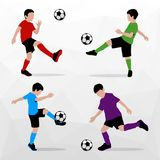 Soccer Players Silhouettes of Kids. Boys in sports form. Football. Vector illustration. Soccer Players Silhouettes of Kids. Boys in sports form. Football Royalty Free Stock Images