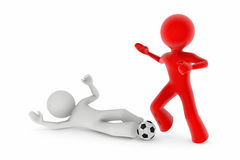 Soccer players; sliding tackle Royalty Free Stock Photo