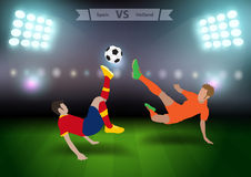 Soccer players spain versus holland Stock Photos