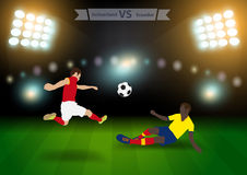 Soccer players switzerland versus ecuador Royalty Free Stock Images