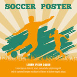 Soccer players vector poster template Royalty Free Stock Image
