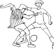 Soccer players - vector. Two soccer players fighting for the ball probably ball will go between the legs Stock Image