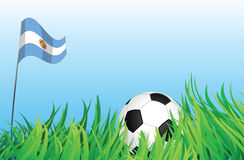 Soccer playground, argentina. An illustrations of soccer ball, with argentina flag waving at the background Stock Images