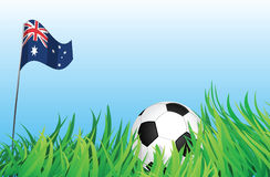 Soccer playground, australia. An illustrations of soccer ball, with australia flag waving at the background Royalty Free Stock Photo