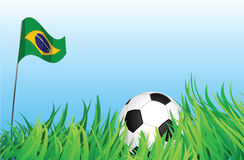 Soccer playground, brazil. An illustrations of soccer ball, with a brazil flag waving at the background Stock Images