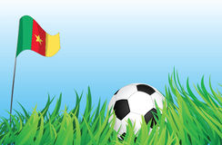Soccer playground, cameroon. An illustrations of soccer ball, with a cameroon flag waving at the background Royalty Free Stock Images