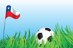 Soccer playground, chile. An illustrations of soccer ball, with a chile flag waving at the background Royalty Free Stock Photography