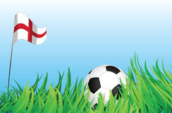 Soccer playground, england. An illustrations of soccer ball, with england flag waving at the background Stock Images
