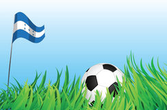 Soccer playground, honduras. An illustrations of soccer ball, with a honduras flag waving at the background Stock Images