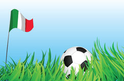 Soccer playground, italy. An illustrations of soccer ball, with italy flag waving at the background Royalty Free Stock Photography