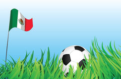 Soccer playground, mexico. An illustrations of soccer ball, with a mexico flag waving at the background Royalty Free Stock Images