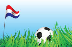 Soccer playground, paraguay. An illustrations of soccer ball, with a paraguay flag waving at the background Royalty Free Stock Image