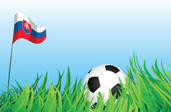 Soccer playground, slovakia. An illustrations of soccer ball, with a slovakia flag waving at the background Royalty Free Stock Photography