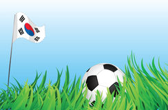 Soccer playground, south korea. An illustrations of soccer ball, with a south korea flag waving at the background Royalty Free Stock Images
