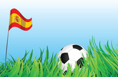 Soccer playground, spain. An illustrations of soccer ball, with a spain flag waving at the background Royalty Free Stock Photography