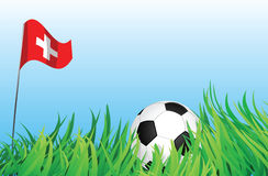 Soccer playground, switzerland. An illustrations of soccer ball, with a switzerland flag waving at the background Stock Photo