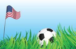 Soccer playground, united states of america. An illustrations of soccer ball, with a united states of america flag waving at the background Stock Photos