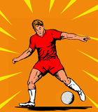 Soccer playing ball orange bg. Illustration of a soccer player kicking the ball royalty free illustration