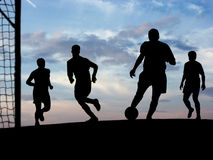 Soccer Playing (Sky). Image background, concept of football players Stock Photos