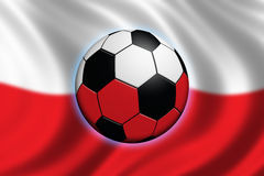 Soccer in Poland. Soccer ball and polish flag in background Royalty Free Stock Photography