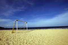 Soccer post. At a beach Stock Images