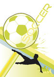 Soccer, poster. Soccer player kicking a ball dynamic splashes and lines stock illustration