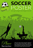 Soccer Poster. With Players and Fans on grunge background, element for design, vector illustration royalty free illustration