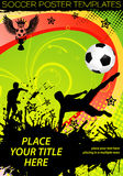 Soccer Poster. With Players with Ball on grunge background, element for design, vector illustration Royalty Free Stock Photo