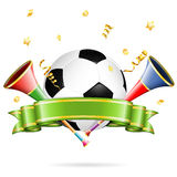 Soccer Poster. With Soccer Ball, vuvuzela, ribbon and golden streamer, vector isolated on white background Royalty Free Stock Photo