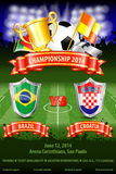 Soccer Poster. World Championship 2014 Brazil with Shields, Ball, Ribbon, Cup, Fans and Flags, vector Stock Photo