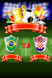 Soccer Poster. World Championship 2014 Brazil with Shields, Ball, Ribbon, Cup, Fans and Flags, vector Stock Photography
