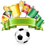 Soccer Poster. With Soccer Ball, Flags, Gold Trophy and ribbon, vector  on white background Royalty Free Stock Images