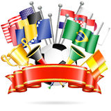 Soccer Poster. With Soccer Ball, Flags, vuvuzela, cup and ribbon, vector  on white background Stock Photography