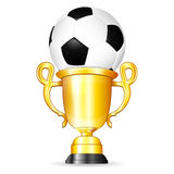 Soccer Poster. With Soccer Ball and Gold Trophy, vector isolated on white background Royalty Free Stock Photography
