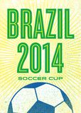 Soccer poster. Brazil 2014 FIFA world cup football template with ball on it. The ball is blue and white an the rest green and yellow. It reads Brazil 2014 soccer Stock Illustration