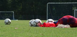 Before soccer practice. Soccer equipment on grass before practice Stock Image
