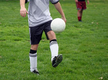Soccer practice. Man with a ball on a soccer field Royalty Free Stock Photography