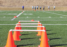 Soccer Practice with Orange Cones Stock Photo