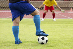 Soccer preparing for a penalty shot Royalty Free Stock Photos