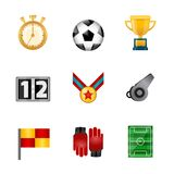 Soccer realistic icons. Set with stopwatch football ball victory cup isolated vector illustration Stock Photos