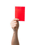 Soccer red card showing isolated Stock Images
