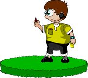 Soccer referee. Illustration: soccer referee allows penalty kick only after whistle Stock Images