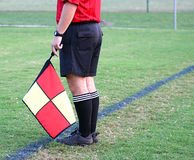 Soccer Referee. On field line stock image